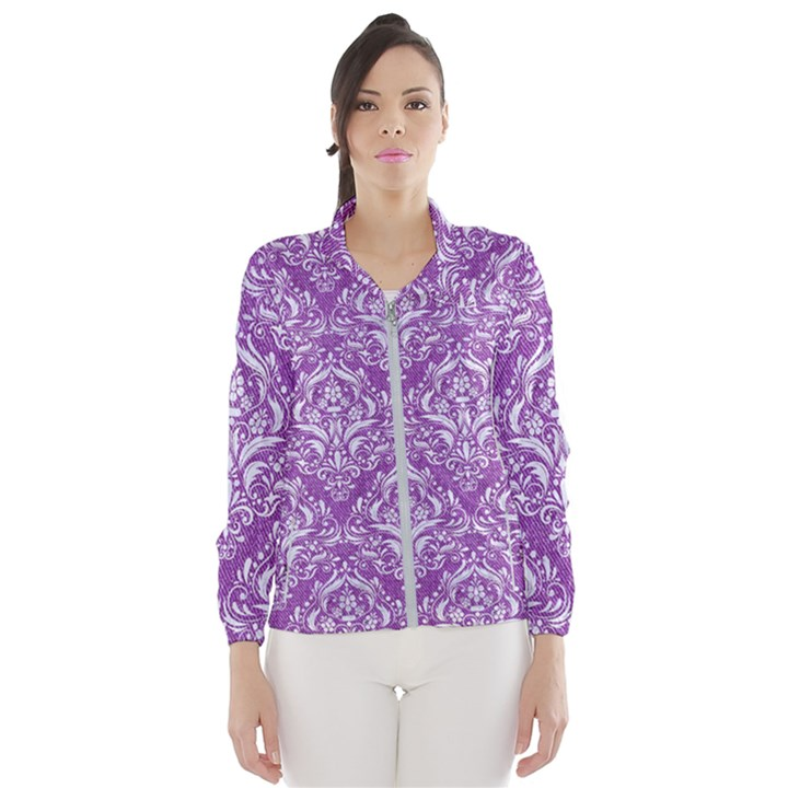 DAMASK1 WHITE MARBLE & PURPLE DENIM Wind Breaker (Women)