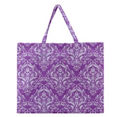 Damask1 White Marble & Purple Denim Zipper Large Tote Bag by trendistuff