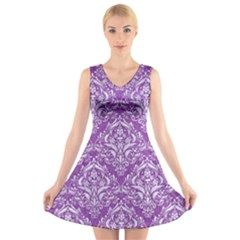 Damask1 White Marble & Purple Denim V Neck Sleeveless Dress