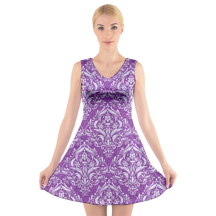 DAMASK1 WHITE MARBLE & PURPLE DENIM V-Neck Sleeveless Dress