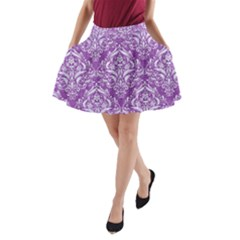 Damask1 White Marble & Purple Denim A Line Pocket Skirt by trendistuff