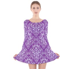 Damask1 White Marble & Purple Denim Long Sleeve Velvet Skater Dress by trendistuff