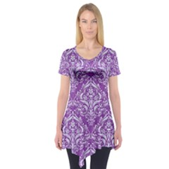 Damask1 White Marble & Purple Denim Short Sleeve Tunic  by trendistuff