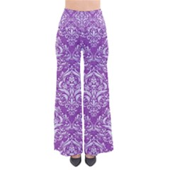 Damask1 White Marble & Purple Denim So Vintage Palazzo Pants by trendistuff