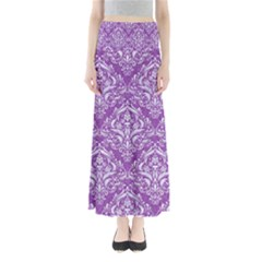Damask1 White Marble & Purple Denim Full Length Maxi Skirt by trendistuff
