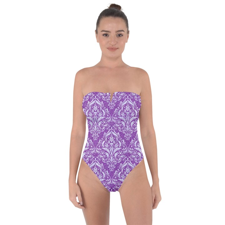 DAMASK1 WHITE MARBLE & PURPLE DENIM Tie Back One Piece Swimsuit