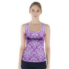 Damask1 White Marble & Purple Denim Racer Back Sports Top by trendistuff