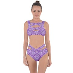 Damask1 White Marble & Purple Denim Bandaged Up Bikini Set  by trendistuff