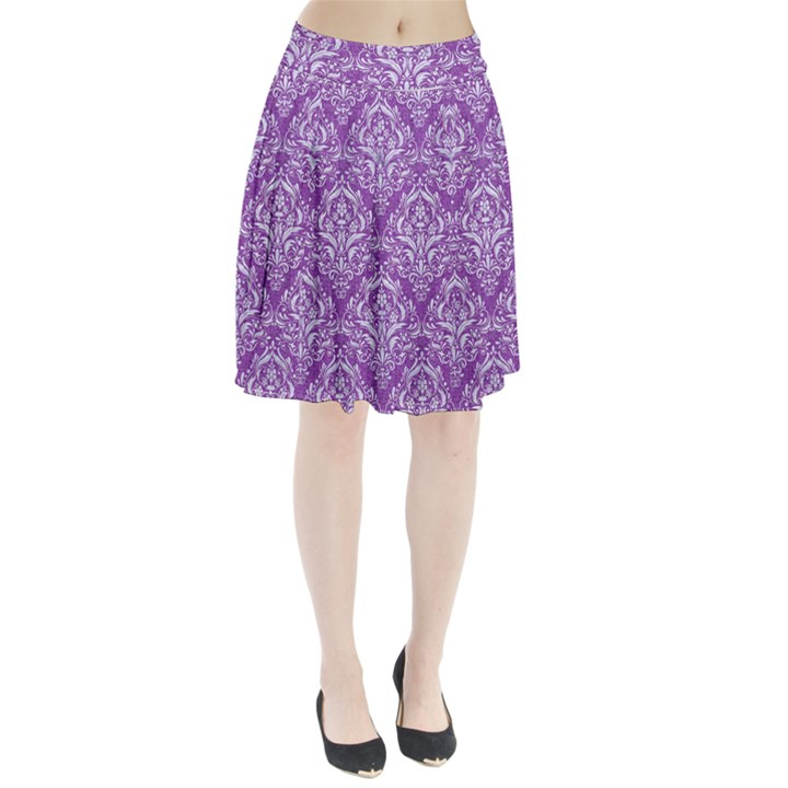DAMASK1 WHITE MARBLE & PURPLE DENIM Pleated Skirt