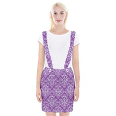 Damask1 White Marble & Purple Denim Braces Suspender Skirt