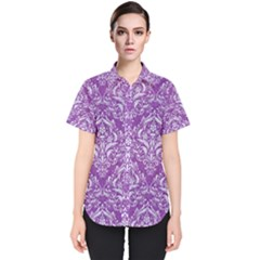 Damask1 White Marble & Purple Denim Women s Short Sleeve Shirt by trendistuff