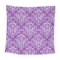 Damask1 White Marble & Purple Denim Square Tapestry (large) by trendistuff