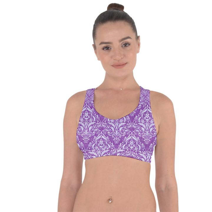 DAMASK1 WHITE MARBLE & PURPLE DENIM Cross String Back Sports Bra