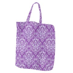 Damask1 White Marble & Purple Denim Giant Grocery Zipper Tote by trendistuff