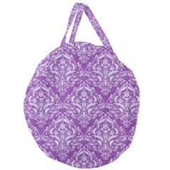Damask1 White Marble & Purple Denim Giant Round Zipper Tote