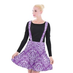 Damask1 White Marble & Purple Denim Suspender Skater Skirt by trendistuff