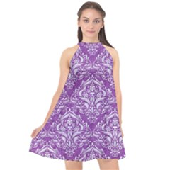 Damask1 White Marble & Purple Denim Halter Neckline Chiffon Dress