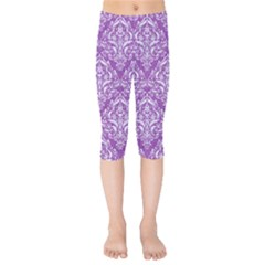 Damask1 White Marble & Purple Denim Kids  Capri Leggings  by trendistuff