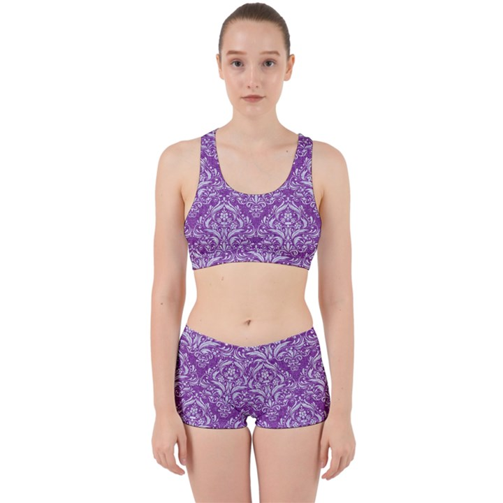 DAMASK1 WHITE MARBLE & PURPLE DENIM Work It Out Gym Set