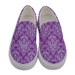 Damask1 White Marble & Purple Denim Women s Canvas Slip Ons