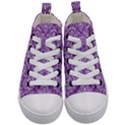 DAMASK1 WHITE MARBLE & PURPLE DENIM Kid s Mid-Top Canvas Sneakers View1