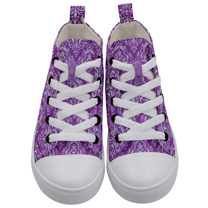DAMASK1 WHITE MARBLE & PURPLE DENIM Kid s Mid-Top Canvas Sneakers