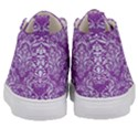 DAMASK1 WHITE MARBLE & PURPLE DENIM Kid s Mid-Top Canvas Sneakers View4