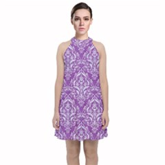 Damask1 White Marble & Purple Denim Velvet Halter Neckline Dress  by trendistuff