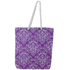 Damask1 White Marble & Purple Denim Full Print Rope Handle Tote (large)