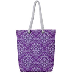 Damask1 White Marble & Purple Denim Full Print Rope Handle Tote (small) by trendistuff