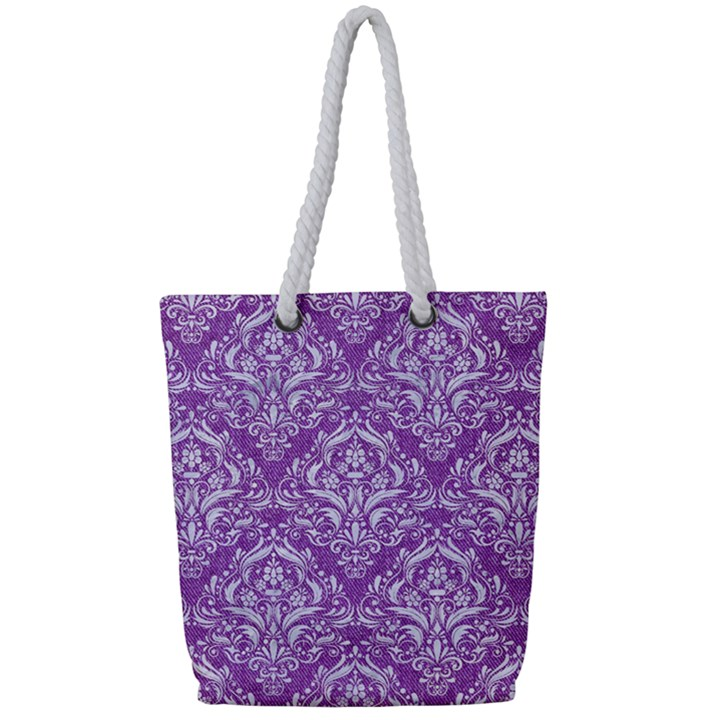 DAMASK1 WHITE MARBLE & PURPLE DENIM Full Print Rope Handle Tote (Small)