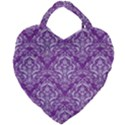 DAMASK1 WHITE MARBLE & PURPLE DENIM Giant Heart Shaped Tote View1