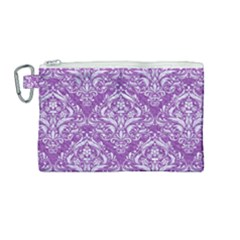 Damask1 White Marble & Purple Denim Canvas Cosmetic Bag (medium) by trendistuff