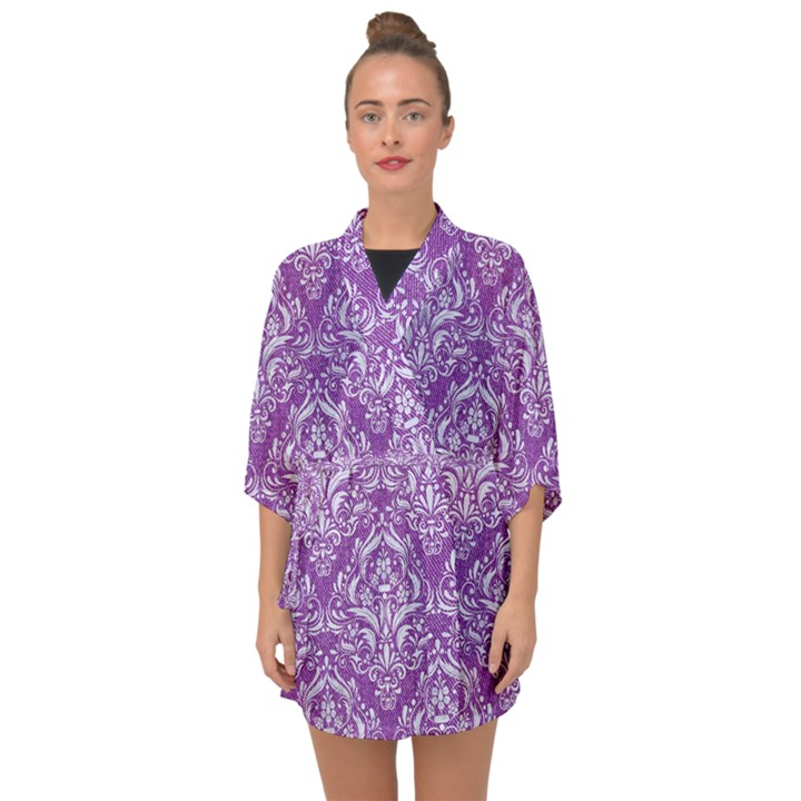 DAMASK1 WHITE MARBLE & PURPLE DENIM Half Sleeve Chiffon Kimono