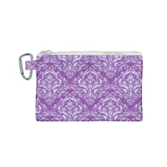 Damask1 White Marble & Purple Denim Canvas Cosmetic Bag (small) by trendistuff