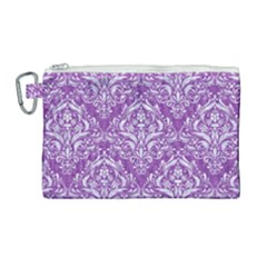 Damask1 White Marble & Purple Denim Canvas Cosmetic Bag (large) by trendistuff