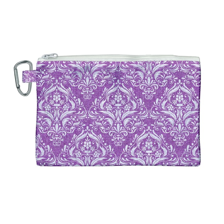 DAMASK1 WHITE MARBLE & PURPLE DENIM Canvas Cosmetic Bag (Large)