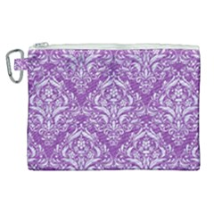 Damask1 White Marble & Purple Denim Canvas Cosmetic Bag (xl) by trendistuff