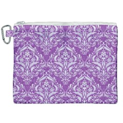 Damask1 White Marble & Purple Denim Canvas Cosmetic Bag (xxl) by trendistuff