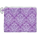 DAMASK1 WHITE MARBLE & PURPLE DENIM Canvas Cosmetic Bag (XXL) View1