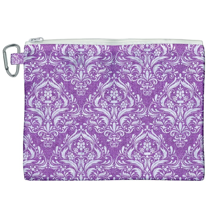 DAMASK1 WHITE MARBLE & PURPLE DENIM Canvas Cosmetic Bag (XXL)