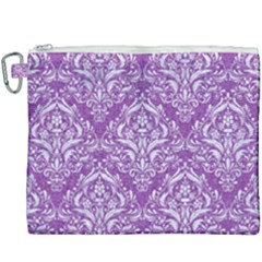 Damask1 White Marble & Purple Denim Canvas Cosmetic Bag (xxxl) by trendistuff