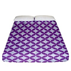 Circles3 White Marble & Purple Denim (r) Fitted Sheet (california King Size) by trendistuff