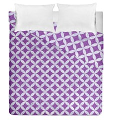 Circles3 White Marble & Purple Denim Duvet Cover Double Side (queen Size) by trendistuff