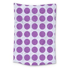 Circles1 White Marble & Purple Denim (r) Large Tapestry by trendistuff