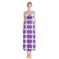 Circles1 White Marble & Purple Denim (r) Button Up Chiffon Maxi Dress by trendistuff