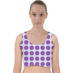 Circles1 White Marble & Purple Denim (r) Velvet Racer Back Crop Top