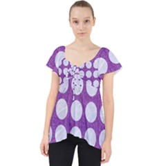 Circles1 White Marble & Purple Denim Lace Front Dolly Top