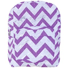 Chevron9 White Marble & Purple Denim (r) Full Print Backpack by trendistuff