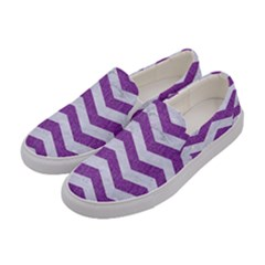 Chevron3 White Marble & Purple Denim Women s Canvas Slip Ons by trendistuff